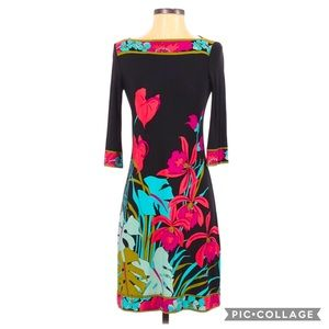 VTG Donna Morgan 70s Retro Floral 3/4 Sleeve Dress
